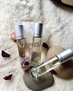 Crystal quartz bottles with aromatherapy blends