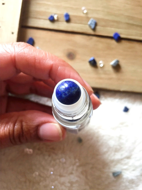 Third Eye Charka Oil Blend with Lapis Lazuli Rollerball & Crystal Chips