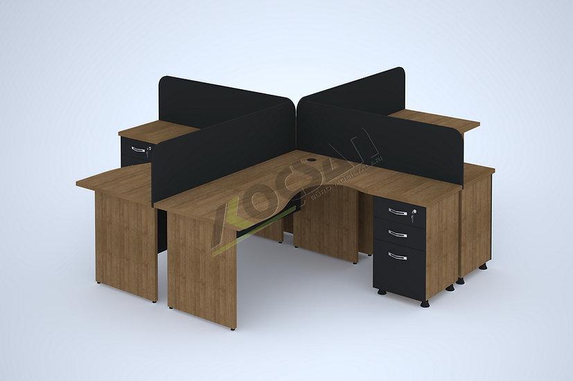 Zeus Ahşap Ayaklı Workstation 4'lü Çoklu Çalışma Masası