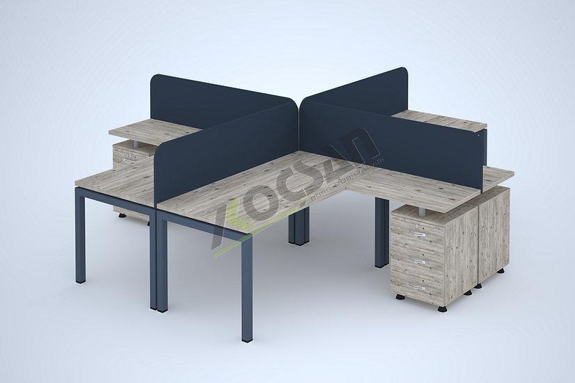 Lotus Workstation 4'lü Çoklu Çalışma Masası