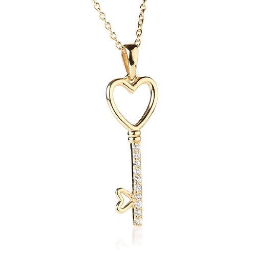 Gold Crystal Key 2 My Heart Pendant Necklace