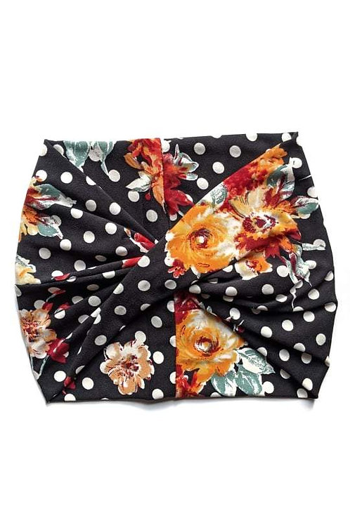 Retro Floral Wide Headband