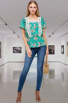 Floral Ruffle Spring Top