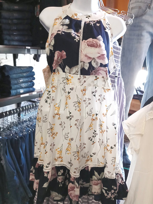 Floral Print High Waist Ruffled Hem Dress