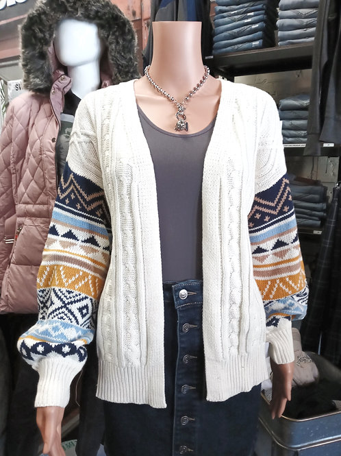Aztec Designed Cable Knit Cardigan