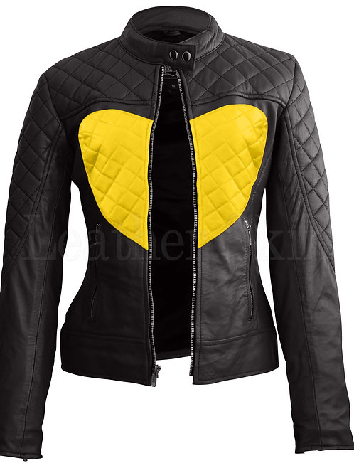 Women Black Yellow Heart Leather Jacket
