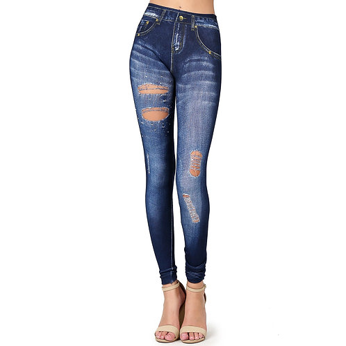 Skinny Cotton Poly One Size Denim Print Jeggings