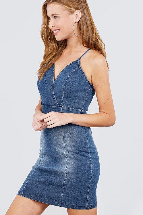 Cross Strap Mini Denim Cami Dress