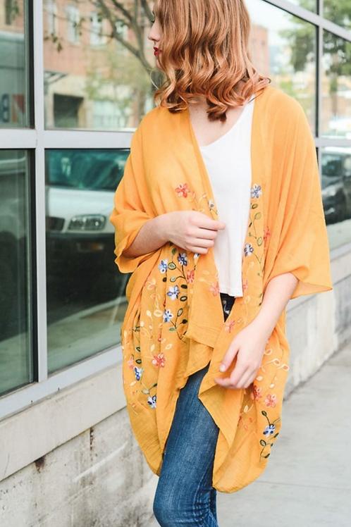 Beautiful Long Mustard Daisy Floral Kimono