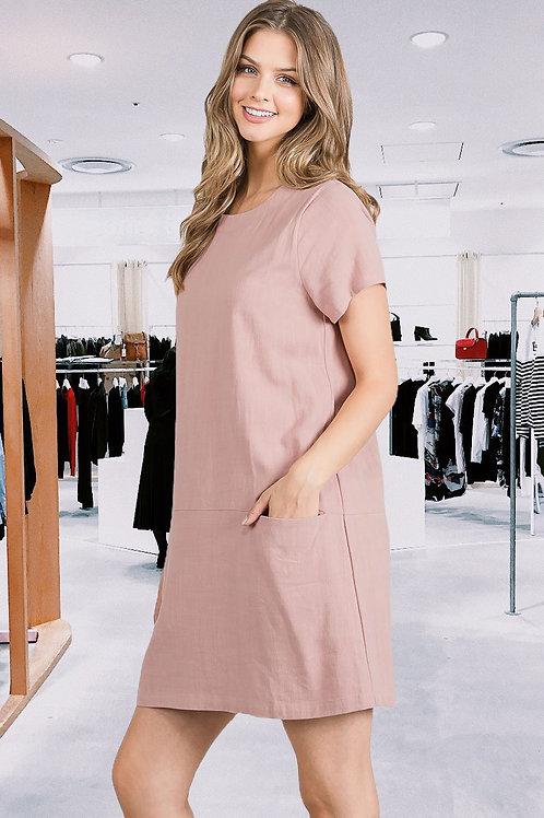 Linen Shift Dress w/Pockets