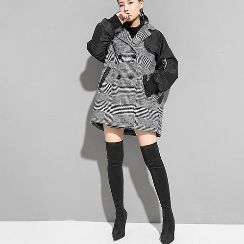 Mao Plaid Double Breasted Collared Jacket