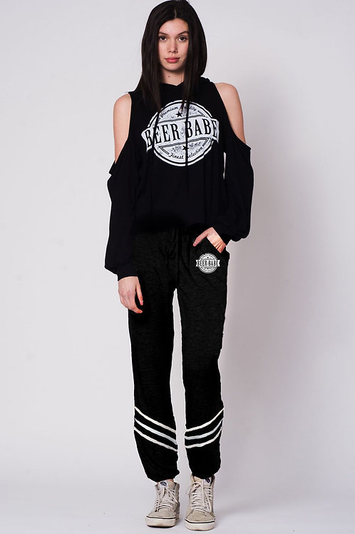 Women's Beer Babe Stripe Ankle Jogger Sweatpants Drawstring