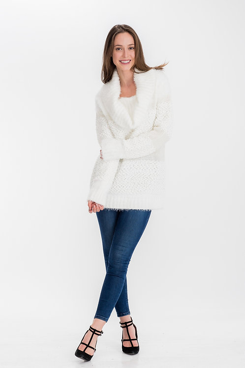 Womens Mohair Cowlneck Sweater Offwhite