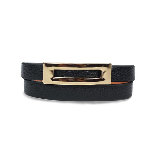 Buckled Leather Bracelet - Midnight Black