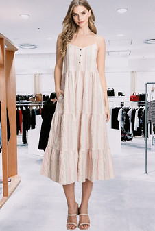 Midi Tiered Crinkle Woven Striped Dress