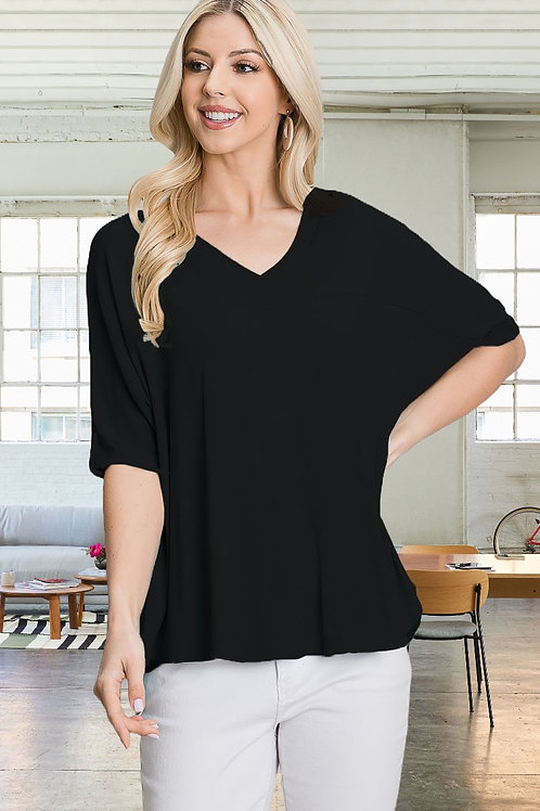 Solid Knit 3/4 Bell Sleeve Tee