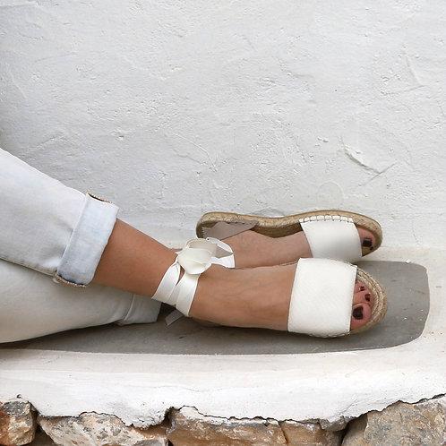 Leather Espadrilles Sandals -White