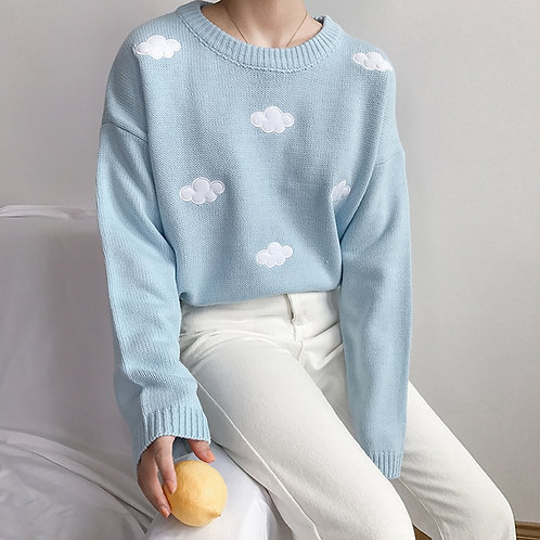 Kawaii Ulzzang Vintage Loose Clouds
