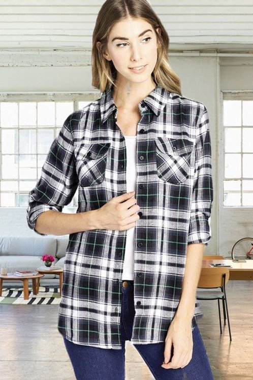 Plaid Flannel Button Up
