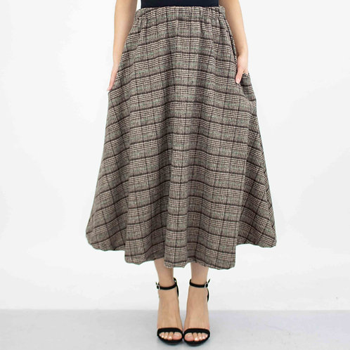 Plaid Flare Midi Skirt With Side Pockets - Brown
