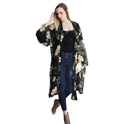 Beautiful Long Black Floral Kimono