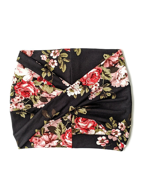 Black Floral Wide Headband