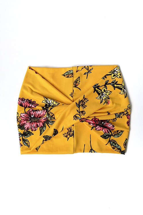 Lemon Yellow Floral Wide Headband