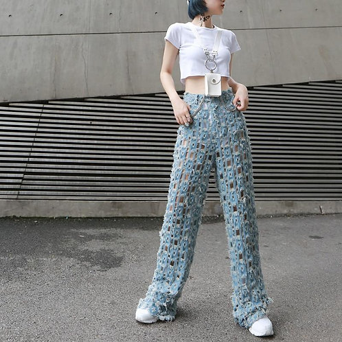 Kaoru High Waist Destroyed Denim Wide Leg Pants