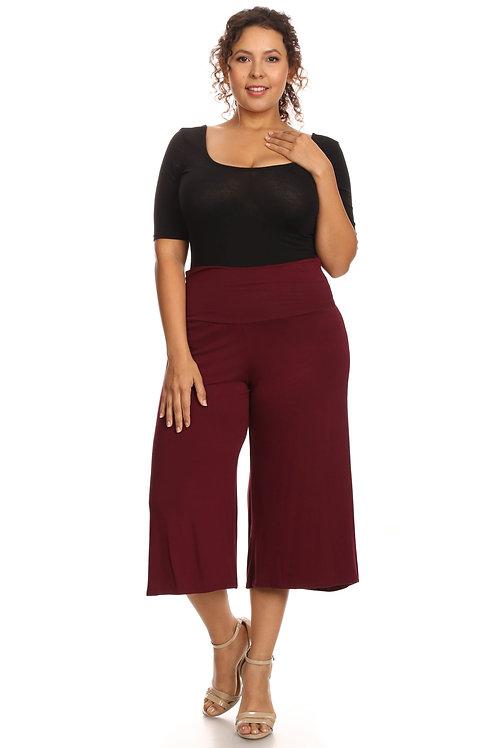 Plus Size Women's Gaucho Pants Knit Capri Culottes Lose Fit 1XL, 2XL, 3XL