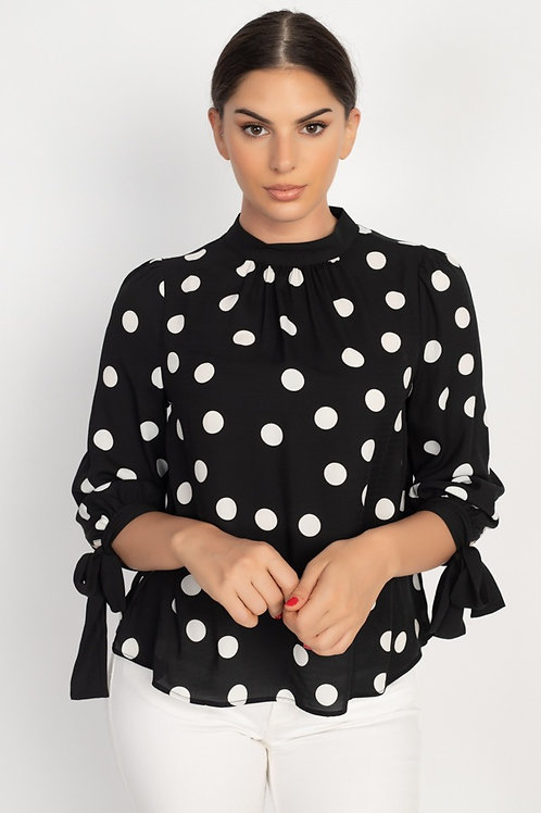 3/4 Sleeve Polka Dot Blouse w/Tie Cuff Accent