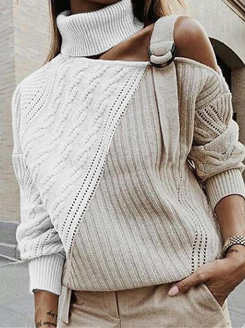 Knit Buckled Shoulder Sweater
