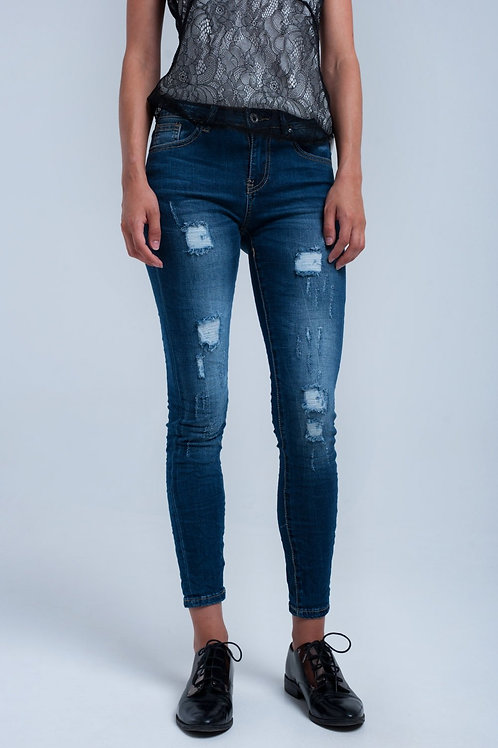 Worn and Washed Out Skinny Jeans