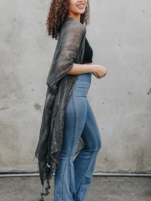 Lila - Charcoal Boho Vertical Striped Kimono
