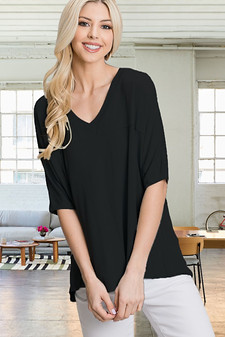 Solid Knit 3/4 Quarter Sleeve High Low Tee Top