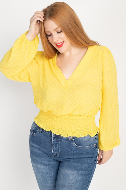 Waist Cinching V Neck Blouse