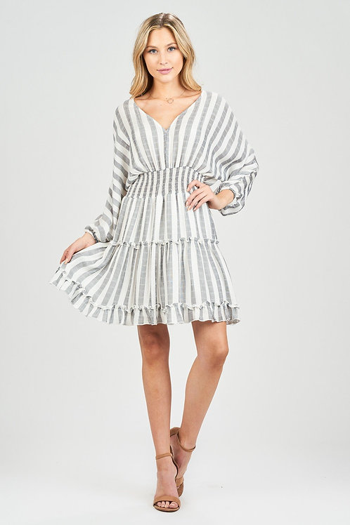 Stripe Off Shoulder With Back Tie Dress