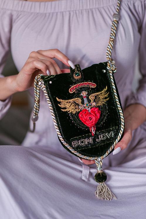 """""""Shot Through The Heart 💔 """" Embroidered Velvet Bag"""