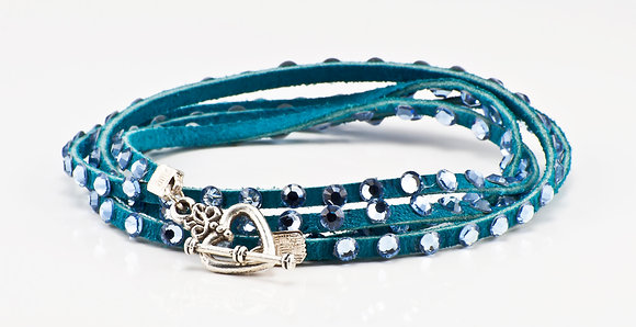 Turquoise Leather bracelet with pale blue crystals