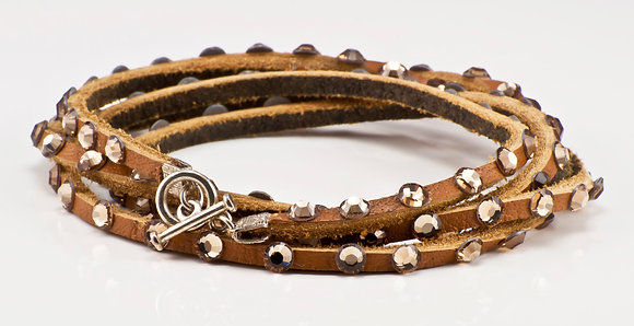 Tan Leather with gold crystals