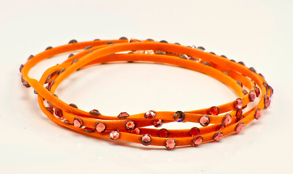 Tangerine Leather with orange swarovski crystals