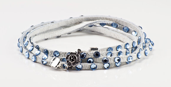 White Leather with pale blue swarovski crystals