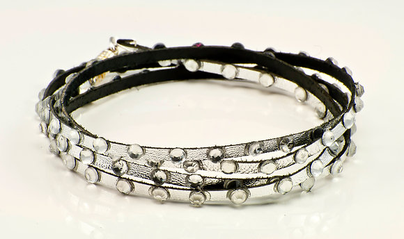 Silver Metallic Leather with clear crystals