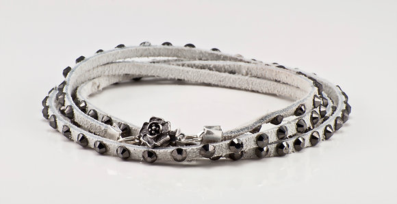 White Leather Bracelet with gunmetal  crystals