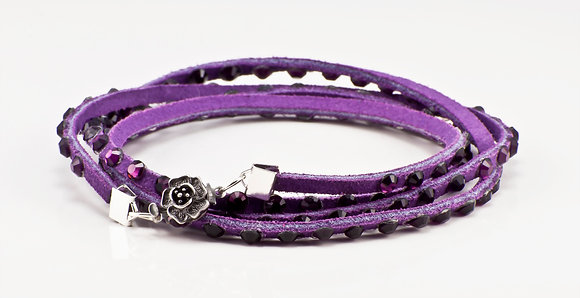 Purple Leather with amethyst purple crystals