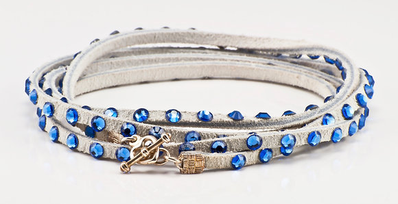 White Leather Bracelet with sapphire  crystals