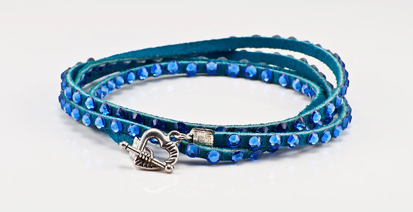 Turquoise Leather with sapphire crystals