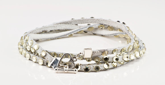 White Leather bracelet with gold crystals