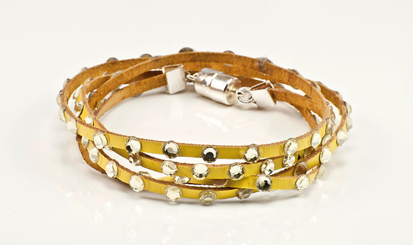 Yellow Leather with clear swarovski crystals