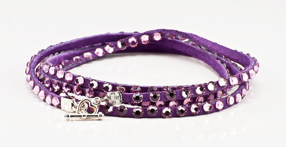 Purple Leather with pale pink swarovski crystals