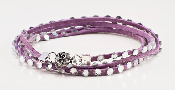 Lavender Leather bracelet w/clear swarovski crytal